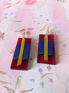 Fused Glass Earrings by CharmingLaneGlass on Etsy,
