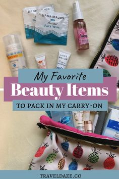 Carry-on Essentials: In-Flight Travel Beauty Essentials - Travel Daze Find out what beauty, makeup, and toiletry products I keep in my personal item while flying. These are my carry-on beauty essentials while traveling. Beauty Essentials, Travel Makeup Essentials, Carry On Essentials, Travel Beauty Routine, Beauty Routines, Carry On Makeup, Carmex Lip Balm, Dark Circles Makeup, Travel Itinerary Template