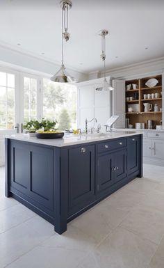15 Impressive Blue Kitchen Paint Cabinet Design You Have To See Blue Kitchen Paint, Blue Kitchen Island, Blue Kitchen Decor, Kitchen Redo, Kitchen Living, New Kitchen, Hague Blue Kitchen, Dark Blue Kitchen Cabinets, White Cabinets