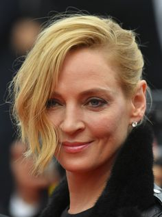 Uma Thurman Messy Updo - Uma Thurman worked a messy-glam updo at the Cannes Film Festival screening of 'Barbara.'