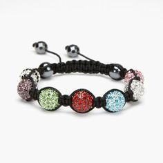 Multi Color Crystal Shamballa Bracelet - XL #Kalifano