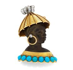 FD Gallery | An Ebony, Turquoise and Diamond Blackamoor Brooch, by Cartier, circa 1950