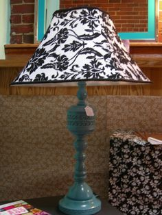 Brass Lamp turned Teal with Black and White Shade