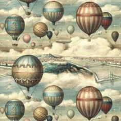 Vintage Prints, Vintage Posters, Doodle Paint, Balloon Illustration, Steampunk Design, Decoupage Paper, Graphic 45, Gravure, Hot Air Balloon