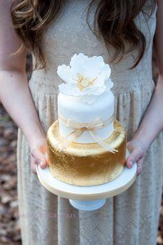 White and gold leaf wedding cake www.ameliageorge.co.uk