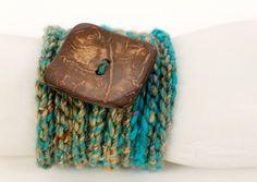 Crochet Wrap Bracelet Blue Variegated Yarn by raspberrypotpourri, $15.00