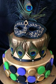 peacock feather and Venetian mask cake