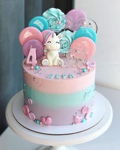 79 Amazing Cake Inspiration For Special Celebration - Hair and Beauty eye makeup Ideas To Try - Nail Art Design Ideas Baby Girl Birthday Cake, Cute Birthday Cakes, Beautiful Birthday Cakes, Cake Baby, 21st Birthday, Birthday Cakes Girls Kids, Girly Cakes, Cute Cakes, Unicorne Cake