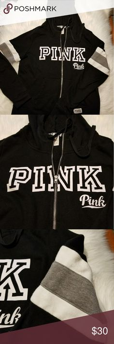 Victoria secret hoodie sweatshirt size large Your classic varsity looking zip up hoodie...the arms are gray and white banded..two front pockets full zipper closure with drawstring hoodie...good condition ..does have some piling under the arms...but I will remove most of what I find...please ask if you have any questions...😁 victoria secret Tops Sweatshirts & Hoodies