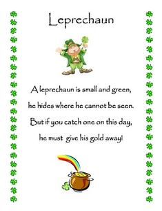 FREE  Leprechaun poem to celebrate St. Patrick's day in your classroom!