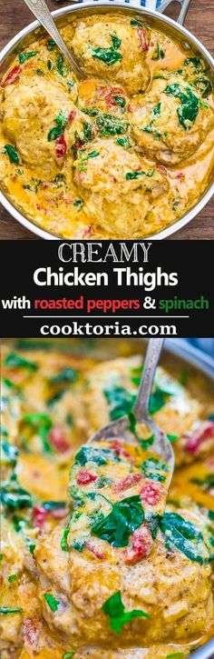 These tender Creamy Chicken Thighs are loaded with flavor! Spinach, roasted peppers, onions, Parmesan, and cream come together to create an absolutely scrumptious sauce. ❤ COOKTORIA.COM