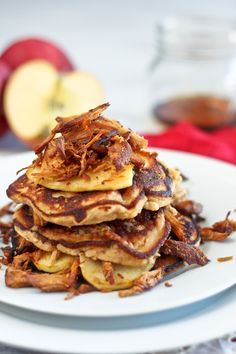 Okay this recipe is so cool and it sounds good!!!! Crispy Pulled Pork and Caramelized Apple Pancake Stack!!!  thehealthyfoodie.com