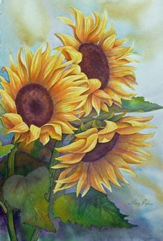 Resultado de imagen para watercolor margaritas girasoles
