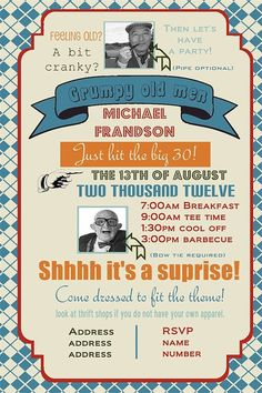 Grumpy old men birthday party invitation you print by yellowlemons