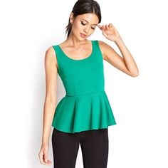 Forever 21 Tops - Forever 21 | Solid Green Peplum Top