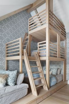 Bunk Beds Built In, Build In Bunk Beds, Oak Bunk Beds, Cabin Bunk Beds, Custom Bunk Beds, Cabin Loft, Bunk Rooms, Bedrooms, Furniture For Small Spaces