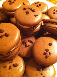 Cocoa nibs atop our chocolate macarons