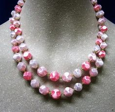 Vintage 1950s Pink Plastic Beaded Necklace Double Strand Signed Japan by letsreminisce on Etsy