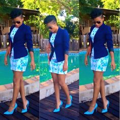 Shades of blue, blazers do collect a dress and bring it back to classy even if it's short...