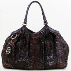 #Gucci Chocolate Python 'Sukey' Tote Bag