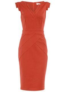 Orange ponte sheath dress