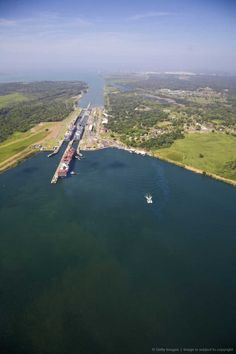 Container ships in Gatun Locks, Panama Canal, Panama.