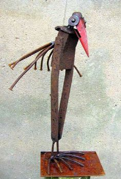 scrap metal sculpture by Chris Kircher I Skulpturen aus Schrott von Chris Kircher  bird, garden, art, steel sculpture