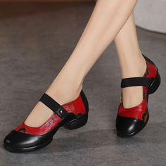 c6adc723b8e Orthopedic  Low Heel Red Pump Puls Size Handmade Women Leather Shoes Mary  Jane
