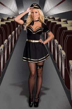 BLACK GOLD MILE HIGH CAPTAIN MISS FIFI LOVE COSTUME @ Amiclubwear costume Online Store,sexy costume,women's costume,christmas costumes,adult christmas costumes,santa claus costumes,fancy dress costumes,halloween costumes,halloween costume ideas,pirate co