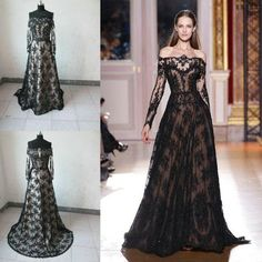Wholesale Cheap Prom Dresses - Buy 2014 Sexy Zuhair Murad Sheer Nude Sexy Long Sleeves Prom Dresses Lace Black Gothic Off Shoulder Wedding Evening Dresses Celebrity Dresses, $156.64 | DHgate