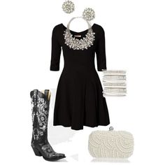 Boots&Pearls, created by cbleonard on Polyvore