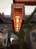 Reclaimed Wood Chandelier with Pulley