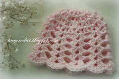Lacy crochet lacy shells baby hat size 3 6 months free pattern newborn hat to match the dress free pattern dt1010fo