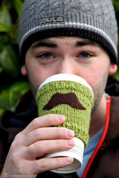 luvinthemommyhood: mustache cup cozy tutorial - upcycle to use a sweater sleeve or an existing cozy from a coffee shop and felt stache