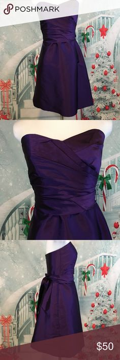 """Alfred Sung Strapless Formal D437 Size 4 Majestic Beautiful!  Alfred Sung Strapless Formal Cocktail Dress Majestic Purple D437 Size 4. Tight fitting Sweetheart Neckline with Matching Sash. Freshly Dry Cleaned. Back zipper enclosure. 100% Polyester. Pit to Pit:  16"""". Waist:  26"""". Length:  34"""".   I love to bundle multiple listings into one purchase. Feel free to make a bundle and I will send you a private offer. Happy Poshing! Alfred Sung Dresses Strapless"""