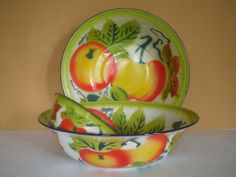 3 Enamelware Bowls 2 Large 12 and 6.5 Fruit by PJsParadise on Etsy, $42.00