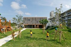situated in the island of miyakojima, japan, this kindergarten and nursery offers open, bright and studio- like space allowing, the children to integrate their work, play and dining with the outdoors.