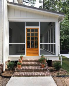 I didn't think it would ever happen, but we finally screened in our back porch! I'm in love! It's so nice to be outside and not be bitten.… Backyard Playhouse, Backyard Sheds, Backyard Landscaping, Porch Materials, Three Season Room, Porch Columns, Screened In Patio, Back Porches, Front Porch