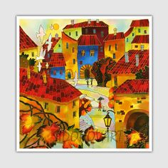 Acrylic Painting GICLEE Print Canvas Print Of Original Acrylic Painting SILK Painting Fine Art Print Cityscape Painting Europe Prague