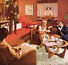 Retro Style When everything was MOD Mid Century Decor, Mid Century House, Mid Century Furniture, 1970s Furniture, 1960s Living Room, Fancy Living Rooms, 1970s Decor, Retro Home Decor, Vintage Interiors