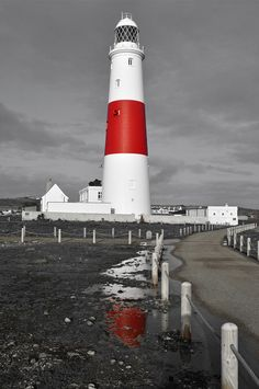 I LOVE Black & White photos with the color accents!!! This is Portland Bill by Dawn Verdaguer in Impressive Black & White Photography with a Touch of Color