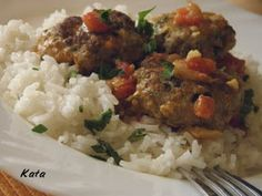 KataKonyha: Indiai paradicsomos húsgombócok Mashed Potatoes, Grains, Curry, Rice, Meat, Ethnic Recipes, Food, Cilantro, Whipped Potatoes