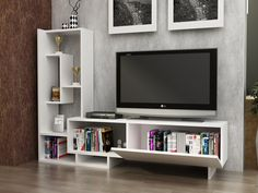 Decorotika pegai white wood 60 inch tv stand with bookshelves tv 60 Inch Tv Stand, 60 Inch Tvs, 60 Tv Stand, Tv Stand Console, Tv Stand Bookshelf, Bookshelves With Tv, Home Living, Small Living, Living Rooms