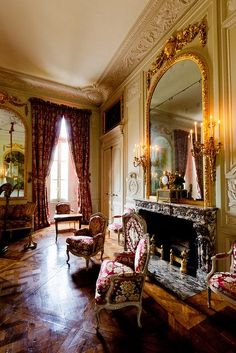 Versailles, Petit Trianon, Grand Salon, view of fireplace wall. Trianon Versailles, Chateau Versailles, Palace Of Versailles, French Interior, Classic Interior, French Decor, Interior Design, Marie Antoinette, Beautiful Interiors