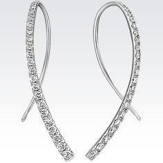 The fashion forward threader style is represented in this pair of shimmering diamond earrings crafted from quality white gold.