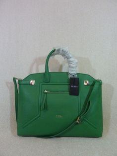 NWT FURLA Emerald Green Leather Lrg Top Handle Alice Satchel Bag Made in Italy  #Furla #Satchel