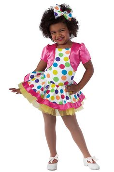 15129 It's My Party | Kids Showcase / First Performance / Dance Costumes / Recital Wear | Dansco 2015 | Bright polka dot printed and solid white spandex leotard with attached matching skirt and glo-cerise elastic straps. Separate cerise satin jacket and yellow chiffon tutu. Headpiece included.