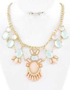 Peach Acrylic Necklace and Earring Set