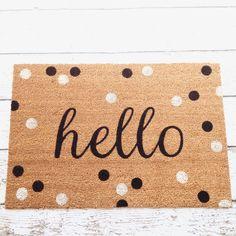 Hello Door Mat / Doormat Door Mat Welcome Mat Polka by LoRustique