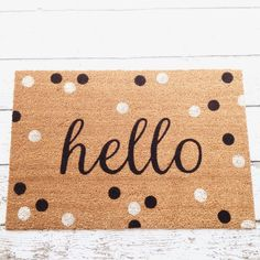 Hello Door Mat / Doormat Door Mat Welcome Mat Polka by LoRustique